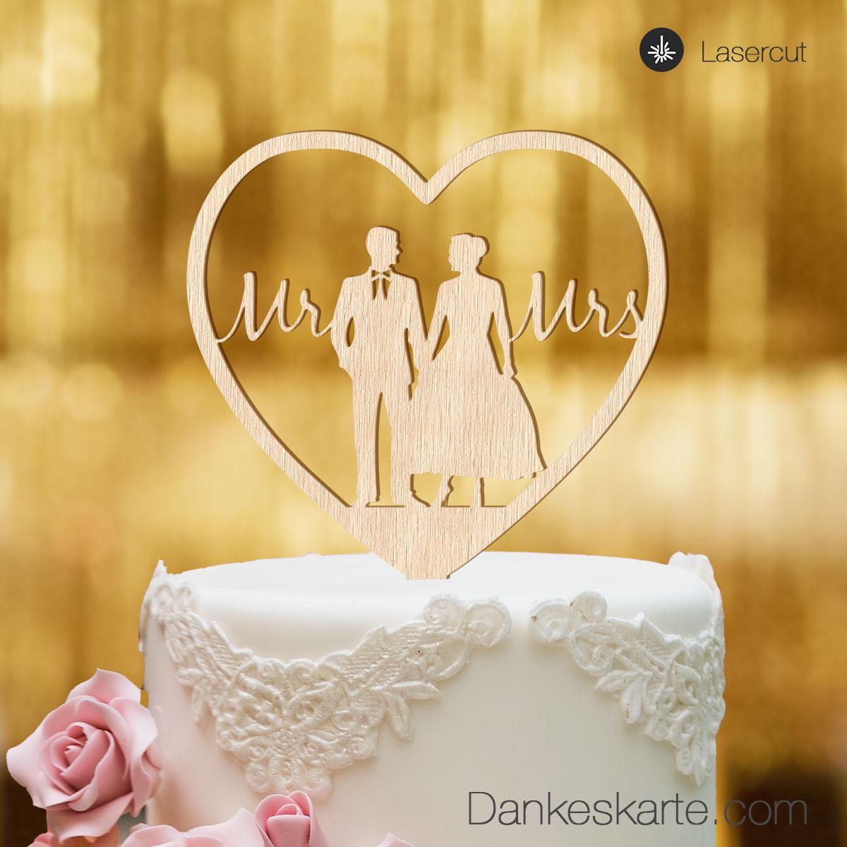 cake topper herz mit brautpaar und mr mrs schriftzug buchenholz xl. Black Bedroom Furniture Sets. Home Design Ideas