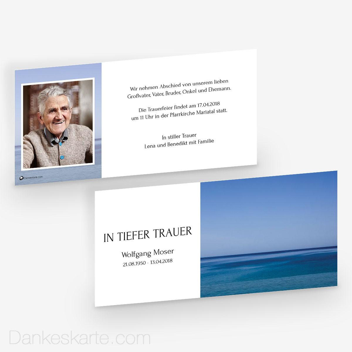 Trauerkarte Kühles Blau 21 X 10 Cm