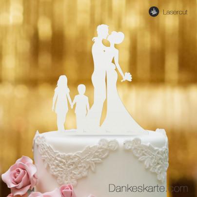 Cake Topper Brautpaar mit Kindern - Weiss - XL