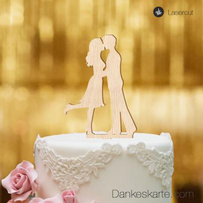 Cake Topper Kuss - Buchenholz - XL
