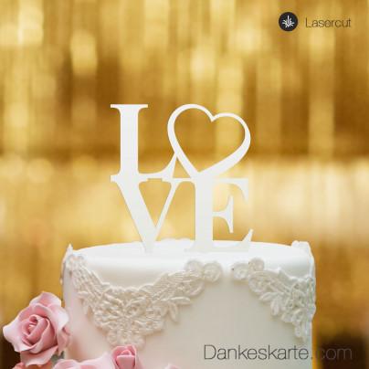 Cake Topper Love Heart - Weiss - XL