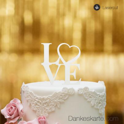 Cake Topper Love Heart - Weiss - S