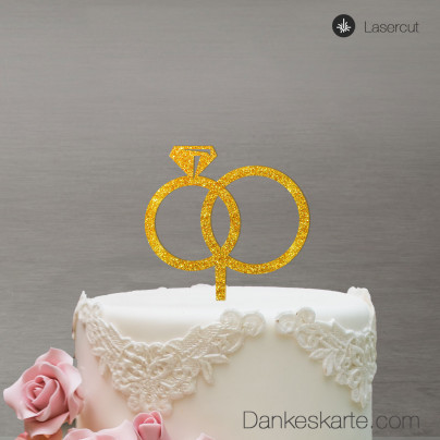 Cake Topper Ringe - Gold Glitzer - XL