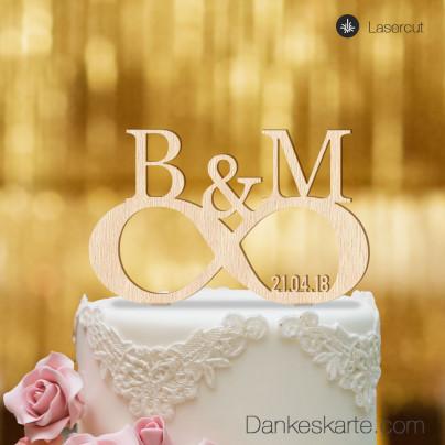 Cake Topper Unendlich personalisiert - Buchenholz - XL
