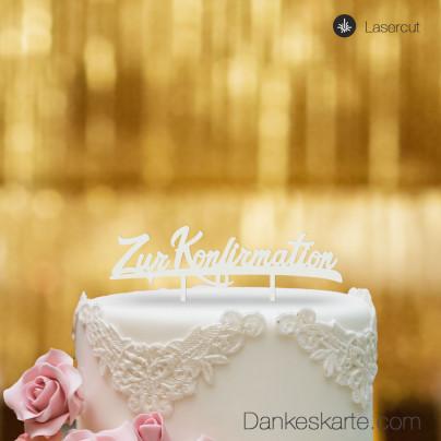 Cake Topper Zur Konfirmation - Weiss