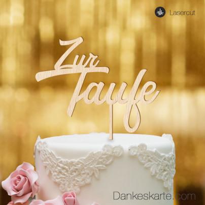 Cake Topper Zur Taufe Zweizeilig - Buchenholz - XL