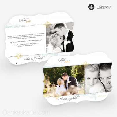 Lasercut-Dankeskarte Elegance 21 x 15cm Ornament