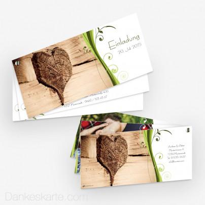 Hochzeitseinladung Schraubenkarte Ametrin Holzherz 21 x 10 cm