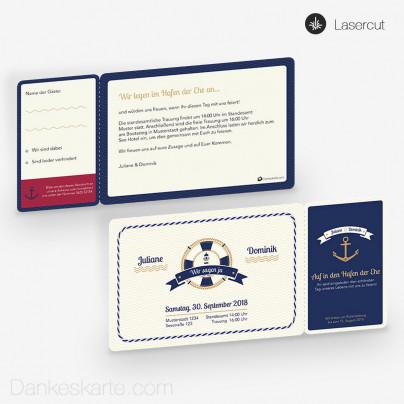 Hochzeitseinladung Hafen der Ehe Ticket 21 x 10 cm