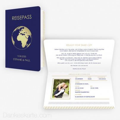 Hochzeitseinladung Reisepass Globus 15 x 10 cm Vertikalklappkarte