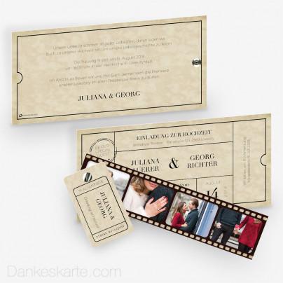 Hochzeitseinladung Theater Ticket mit Fotostreifen 21 x 10 cm