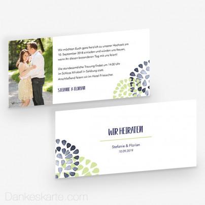Hochzeitseinladung Zarte Blüten 21 x 10 cm