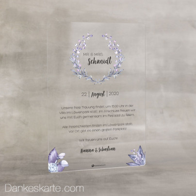 Hochzeitseinladung Acrylkarte Beerenstark 14 x 20 cm