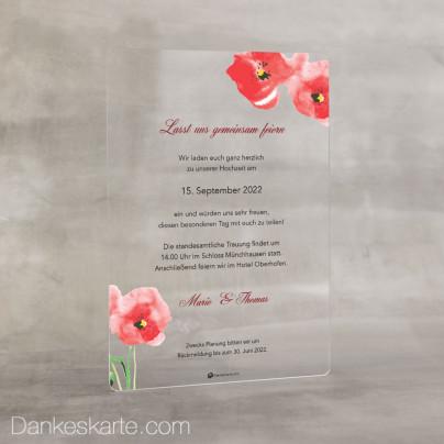 Hochzeitseinladung Acrylkarte Mohnblumen 14 x 20 cm