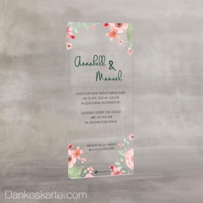 Hochzeitseinladung Acrylkarte Total Floral 9 x 20 cm