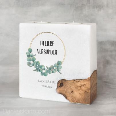 Hochzeitskerze mit Holzelement Eukalyptus 20 x 20 cm