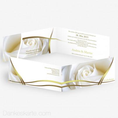 Hochzeitseinladung Semi Gold 21 x 10 cm