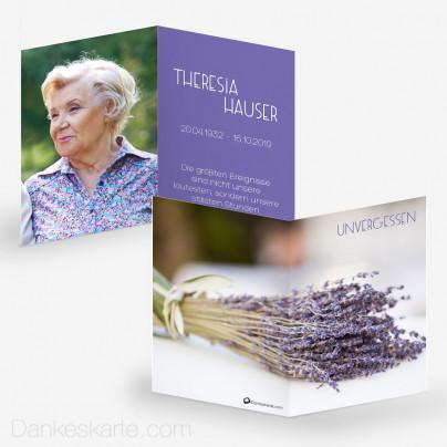 Sterbebild Lavendel 7 x 10 cm