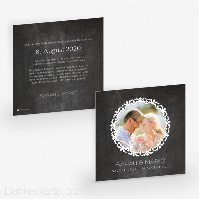 Save-the-Date Chalkboard 14.5 x 14.5 cm