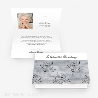 Trauerkarte Peony 15 x 10 cm Vertikalklappkarte