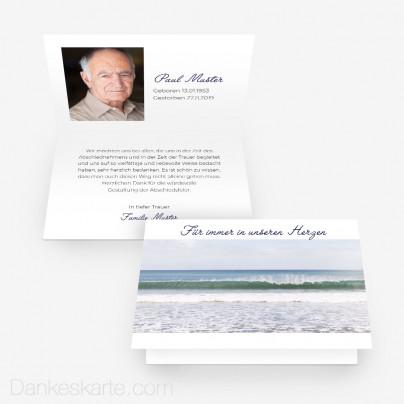 Trauerkarte Wellengang 15 x 10 cm Vertikalklappkarte