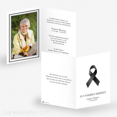 Trauerkarte Schwarze Schleife 10 x 15 cm