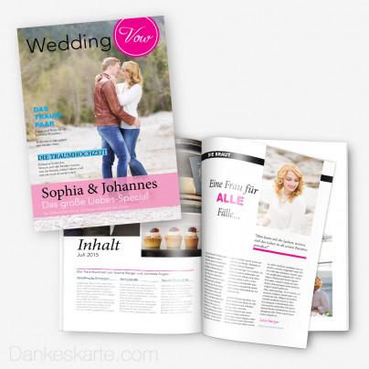 Hochzeitszeitung Pink & Blau