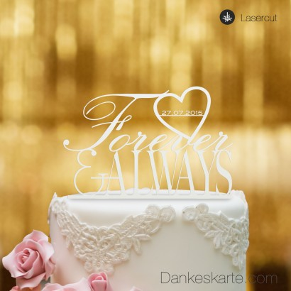 Cake Topper Forever & Always - Weiss