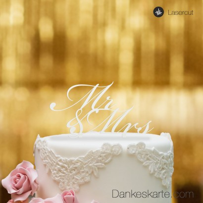 Cake Topper Mr&Mrs Text - Weiss - S