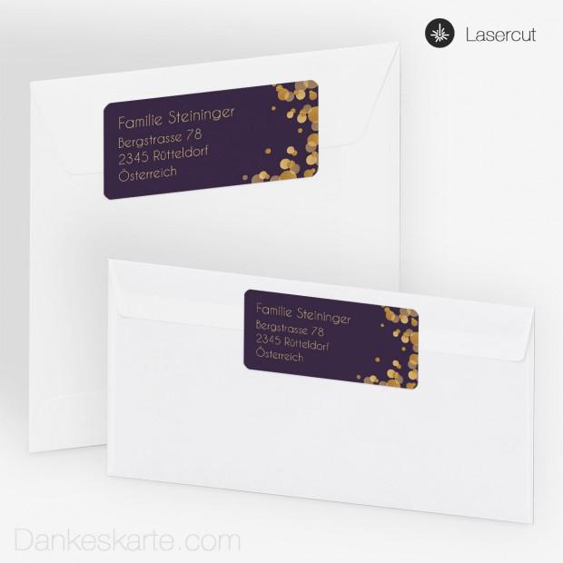 Absenderetikett Purple Gold 9 X 4 Cm