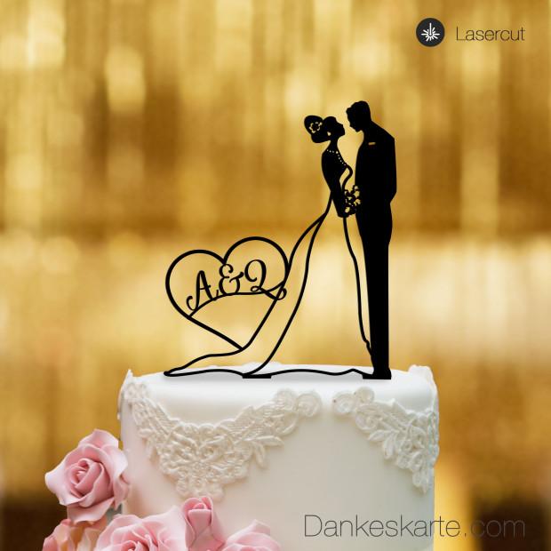 Cake Topper Brautpaar mit Herz personalisiert - Schwarz