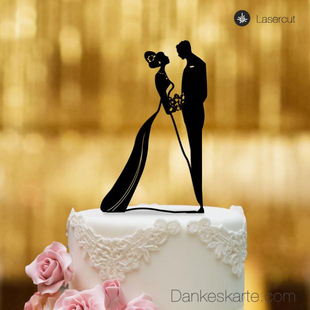 Cake Topper Brautpaar - Schwarz
