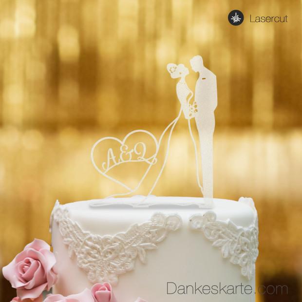 Cake Topper Brautpaar mit Herz personalisiert - Satiniert