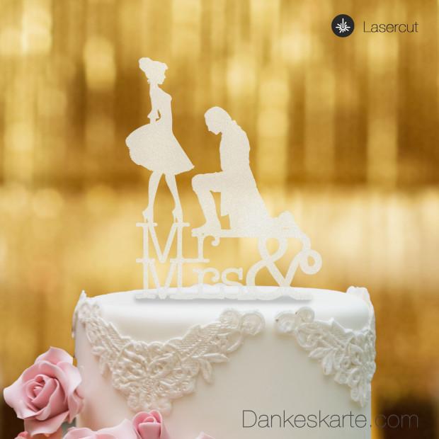 Cake Topper Mr&Mrs - Satiniert