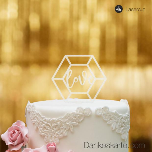 Cake Topper Diamond Love - Satiniert - S