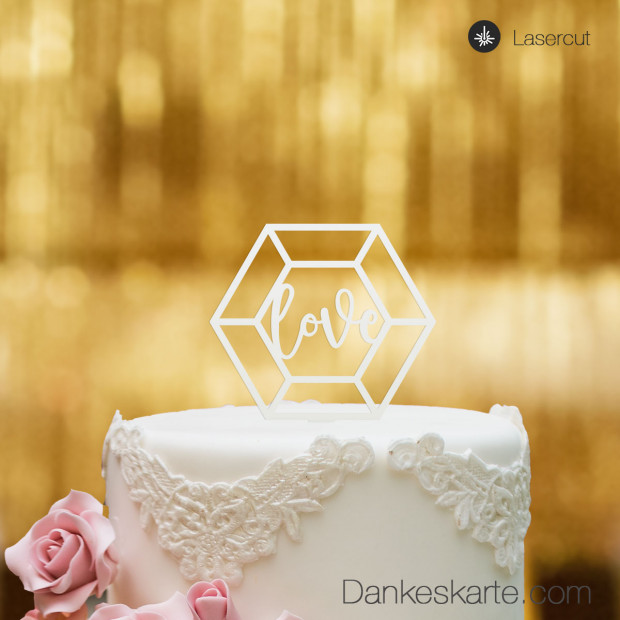 Cake Topper Diamond Love - Weiss - S