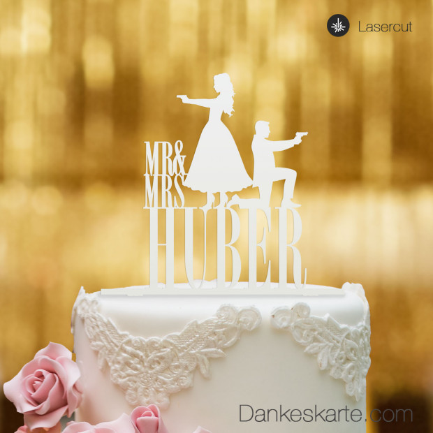Cake Topper Double James personalisiert - Weiss - XL