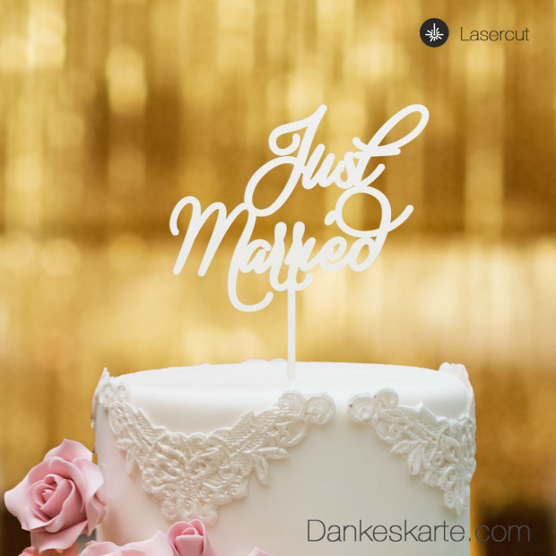 Cake Topper Just Married - Weiss - XL