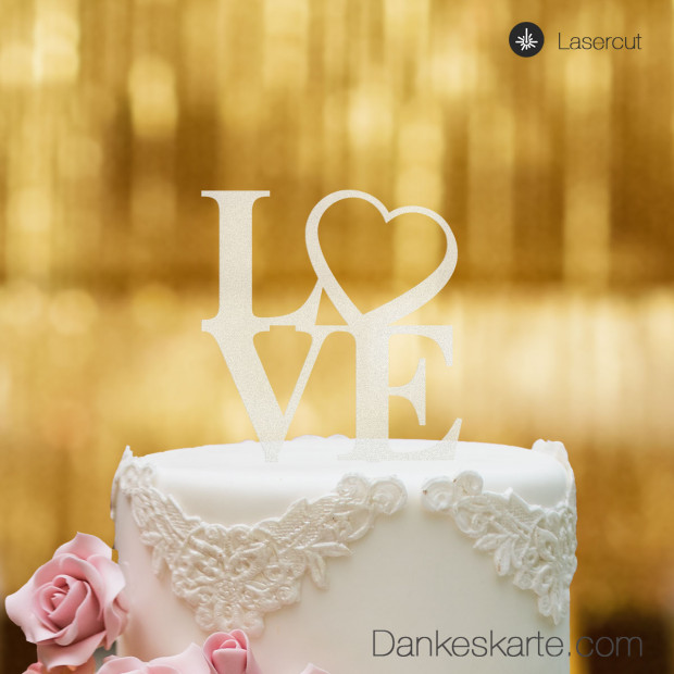 Cake Topper Love Heart - Satiniert