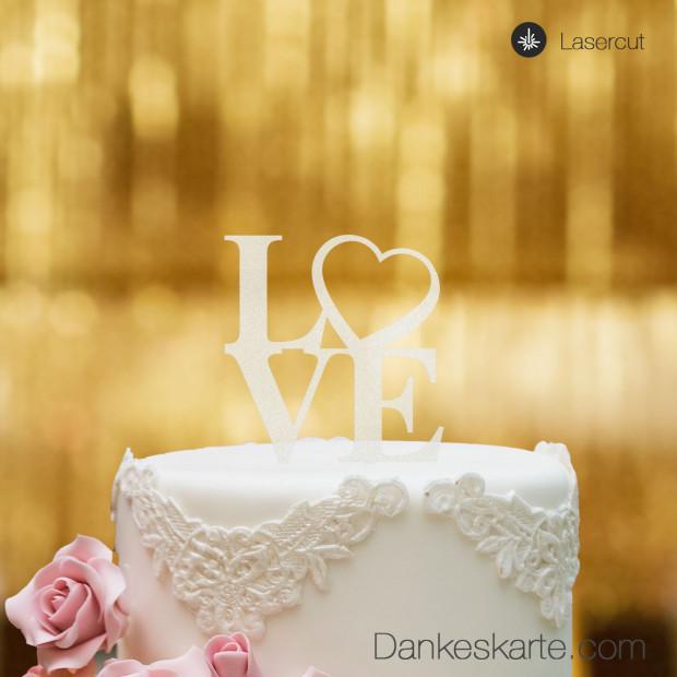 Cake Topper Love Heart - Satiniert