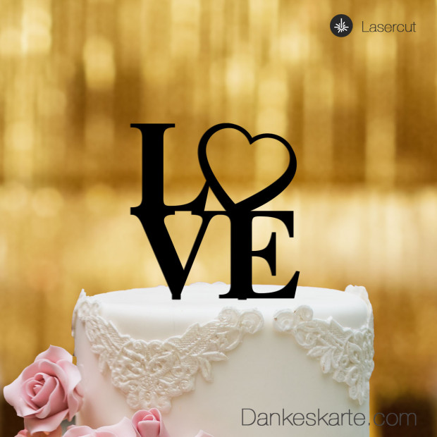 Cake Topper Love Heart - Schwarz