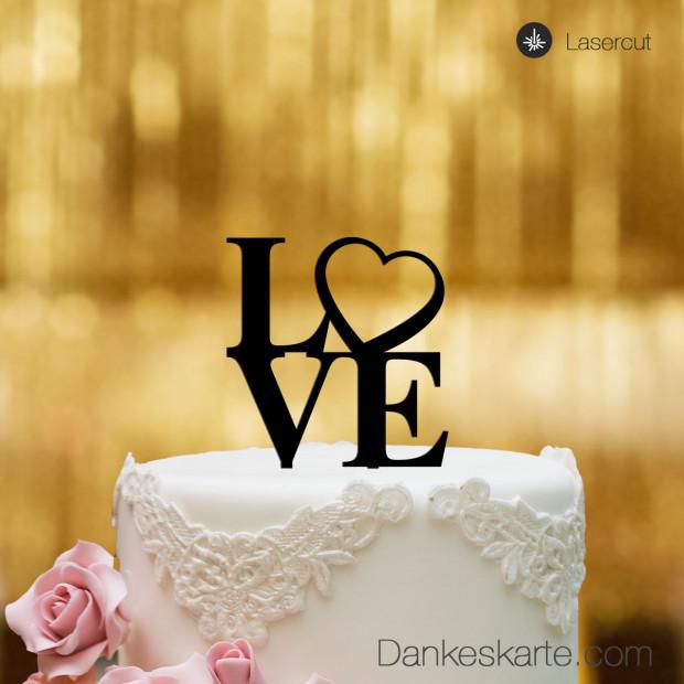 Cake Topper Love Heart - Schwarz