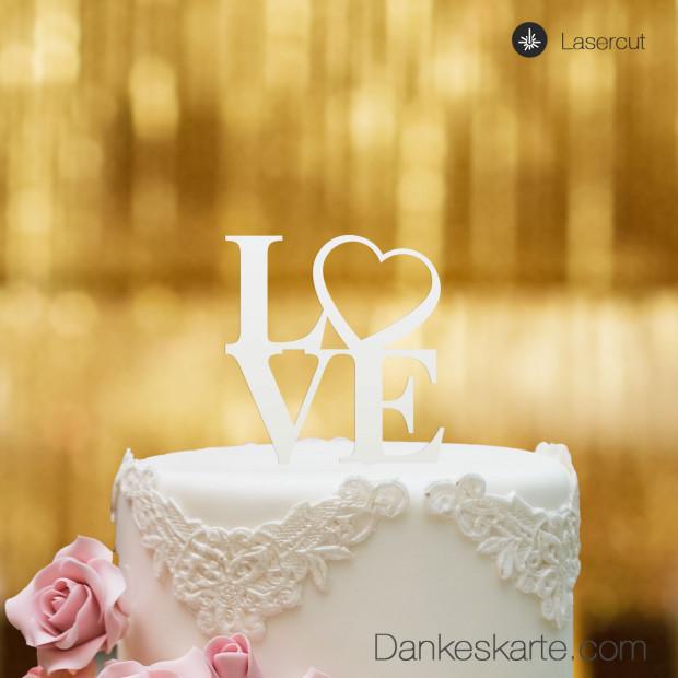 Cake Topper Love Heart - Weiss