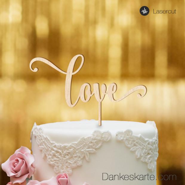Cake Topper Love Schriftzug - Buchenholz - XL