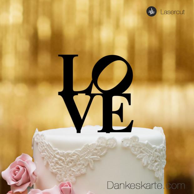 Cake Topper Love - Schwarz