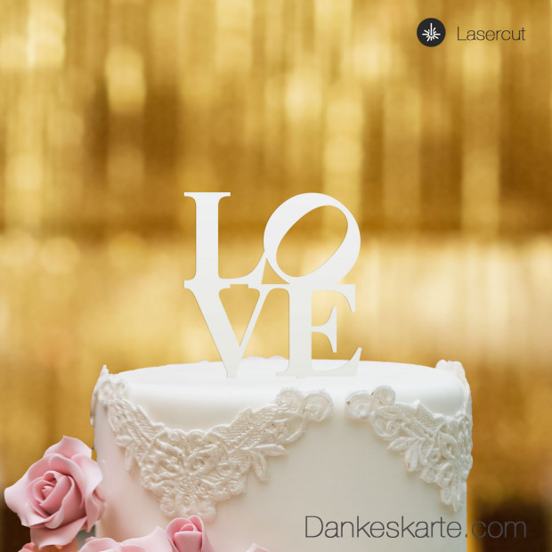 Cake Topper Love - Weiss