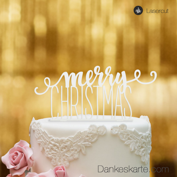 Cake Topper Merry Christmas 1 - Weiss - XL