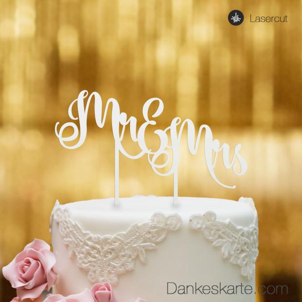 Cake Topper Mr&Mrs Text 2 - Weiss - XL