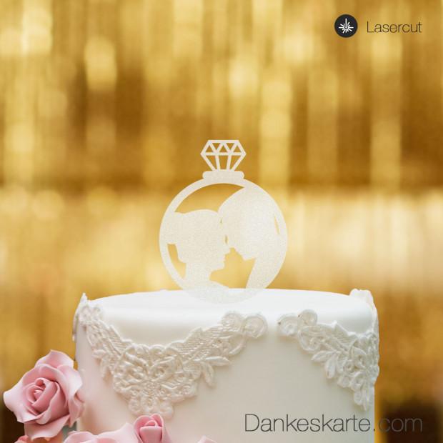 Cake Topper Ring mit Brautpaar - Satiniert- S