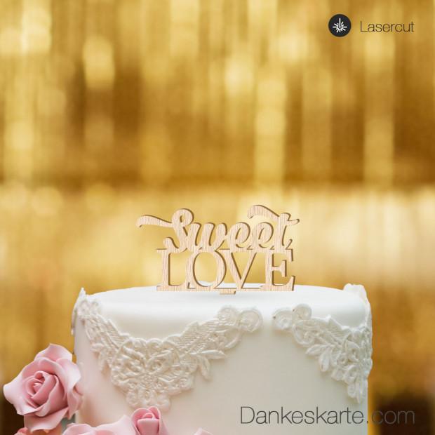 Cake Topper Sweet Love - Buchenholz - S